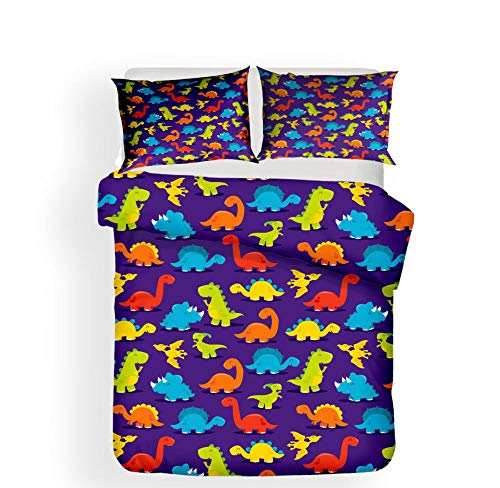 N/S Super King bed Duvet Covers Set Purple Fabric And Dinosaur Brushed Microfiber Bedding Set Bed Duvet Cover with Pillowcases-For Adult Children's Bedroom 86.61 x 102.36 inch