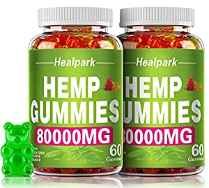 2 Pack Hemp Gummies Organic - 80,000mg Extra Strength, 120ct - for Anxiety & Stress Relief and Inflammation - Better Sleep - 100% Natural, Vegan, Non-GMO, Gluten-Free