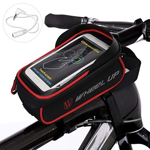 WATERFLY Bike Bag Frame Bike Bag with Waterproof Touch Screen Bicycle Handbar Front Phone Holder for iPhone 7 Plus 8Plus 6 Plus/Samsung Galaxy s7 Note 7 Cellphone