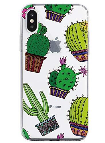 Oihxse Funda Compatible con iPhone 7/iPhone 8, Carcasa Transparente Silicona TPU Suave Protector de Golpes Ultra-Delgado Cristal Cover Anti-Choque Anti-Arañazos Bumper-Hojas 4