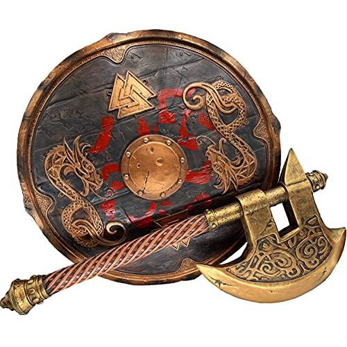 LOOYAR Viking Dragon Shield and Axe Toy for Warrior Costume Halloween Decoration Blue