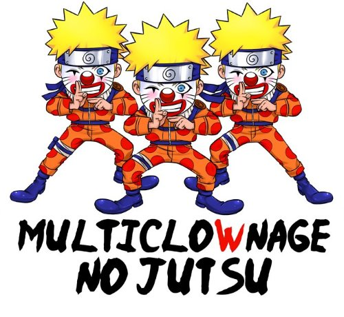 T-Shirt Noir Naruto parodique Naruto Multiclonage : Multiclownage No Jutsu !! (Parodie Naruto)