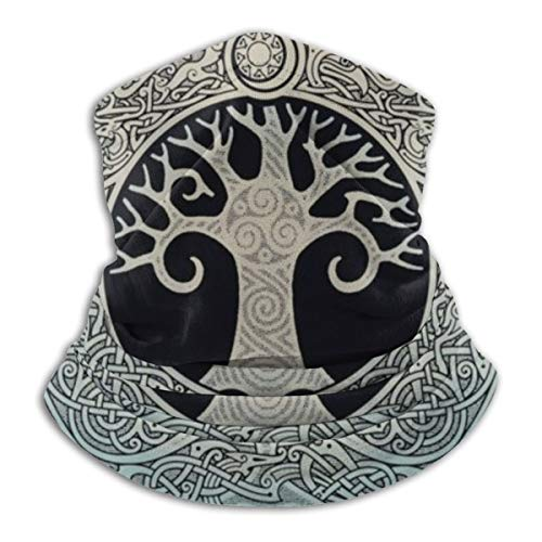 Nordic Yggdrasil Tree Celtic Neck Gaiter for Men Women, Bandana Headwear Head Wrap Scarf Face Mask Balaclava Black