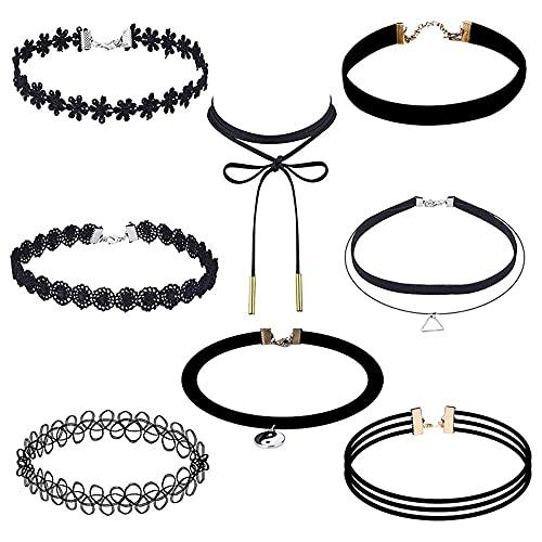 8 PcsBlack Chokers NecklaceGothic Vintage Hand Woven Fishline TattooClavicle Chain NecklaceStretchElasticPunkWomen Jewelry-8Pcs Black Set