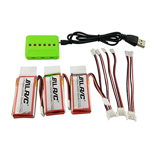 sea jump 3PCS 450mAh Battery and 1to3 Charger for UDI U818A WiFi FPV U845 U919 U919A U945A RC Quadcopter Drone Spare Parts (3 Batteries + Charger)