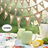 <span class='highlight'><span class='highlight'>FlowersSea</span></span> 3M Burlap Banner Vintage Fabric Hessian Bunting Flags White Love Heart DIY Decoration for Wedding Birthday Party Christmas (5 Pcs)
