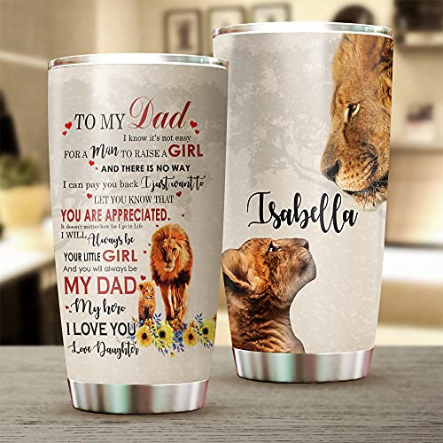 Personalized Daughter To My Dad Lion Tumbler, Father's Day Gift Idea Tumbler Coffee Travel Mug, Insulated Stainless Steel Tumbler, Vacuum Insulated Travel Mug