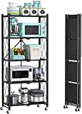 LRBBH Foldable Storage Shelves Unit, 5-Tier Folding Shelf Unit with Casters Wheels, Can Store Rice Cooker, Microwave, Cutlery, Seasoning Tank
