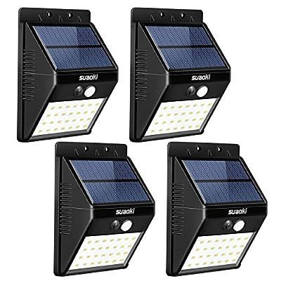 SUAOKI Solar Lights Outdoor Super Bright 28 LED Waterproof Motion Sensor Security Light Detachable Design Wall Light for Deck Patio Yard Backyard Pathway Driveway Garden,