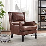 Art Leon Mid Century Modern Faux Leather Arm Accent Chair, Tapered Wood Legs Single Sofa for Small Space Living Room Bedroom, Cognac