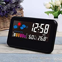 eYotto UMEXUS Digital Alarm Clock Weather Forecast Time Date Humidity Temperature Calendar Large Display Colorful Screen Desk Clock with Snooze Function for Home Travel