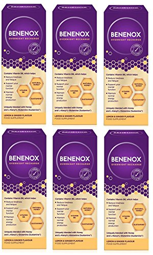 Benenox Overnight Recharge Food Supplement - 135 ml (Lemon & Ginger, 6 Pack)