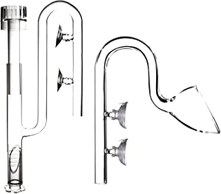 FZONE Aquatic Glass Lily Pipe Set with Lily Skimmer Inflow and Lily Outflow for Aquarium Filter Tubing