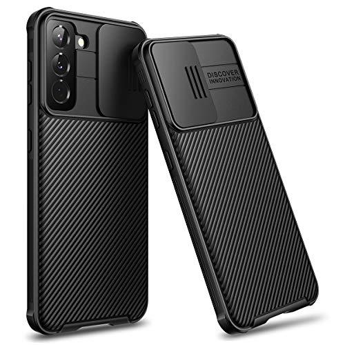 CE-Link Cover per Samsung Galaxy S21+ Plus Custodia con Fotocamera Protezione Scorrevole PC Rigida Ultra Sottile Leggero Bumper Anti Graffio Antiurto Protettiva Resistente Unbreakable Case - Nero