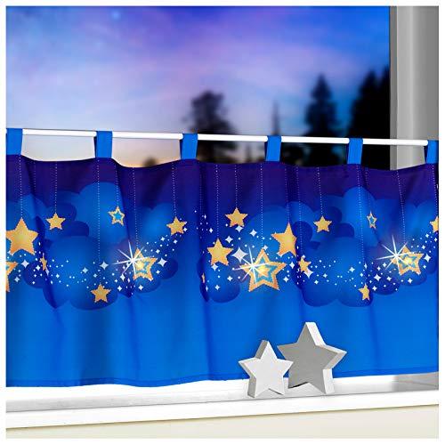 heimtexland Scheibengardine mit LED Sternenhimmel 45 x 120 cm mit Schlaufen Kindergardine Bistrogardine Sterne beleuchtet Weihnachten Deko ÖKOTEX Gardine Typ496