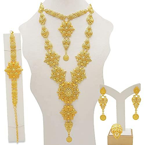 QXZ-WOLFBERRY Conjunto de Joyas de la Pulsera de los Pendientes de los Pendientes del Collar Largo, Conjunto de Joyas africanas de Damas de Oro, Accesorios de Boda (Metal Color : BJ832 2)