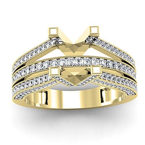 Dazzlingrock Collection Anillo de compromiso de oro de 14 quilates con diamante blanco redondo de 0,75 quilates (sin piedra central).