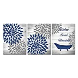 RnnJoile 3 Pieces Rustic Floral Canvas Wall Art Dahlia Relax Soak Unwind Painting Artwork for Home Bathroom Decor Navy Blue Flower Picture Print Framed Ready to Hang Each Piece 12x16 Inch