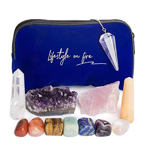 Natural Chakra Stones Set w/ Amethyst Crystal, Rose Quartz, Lapis Lazuli, Clear Quartz Obelisk & Tiger Eye – Chakra Crystals for Reiki, Meditation & Massage – Ebook, Velvet Pouch & Keychain Included!