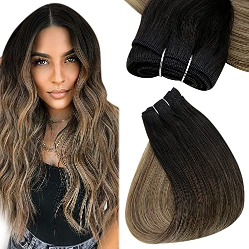 Easyouth Weft Hair Sew in Extensions Balayage Color Off Black Fading to Brown Mix Strawberry Blonde Double Weft Natural Hair Weft Bundles Extensions Straight Hair 22Inch 100g