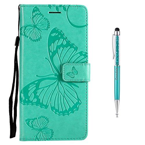 Grandoin Moto E4 Hülle, Handyhülle im Brieftasche-Stil für Motorola Moto E4 Handytasche PU Leder Flip Cover Schmetterling Muster Design Premium Book Case Schutzhülle Etui Case (Grün)