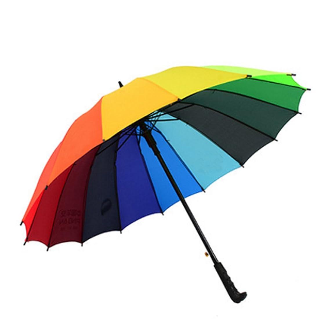 洗剤温かいスキームEver Fairy 高品質レインボー傘 レディース 長傘 16本骨 グラスファイバー 丈夫 傘 軽い 96cm 大きい 晴雨兼用 男女兼用