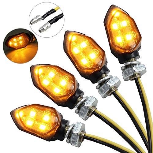 Justech 4 x 12V LED Smoked Microblinker licht Miniblinker Blinker Lampe Motorrad/E-Prüfzeichen 3528 Lichtperlen Bernstein IP65 wasserdicht