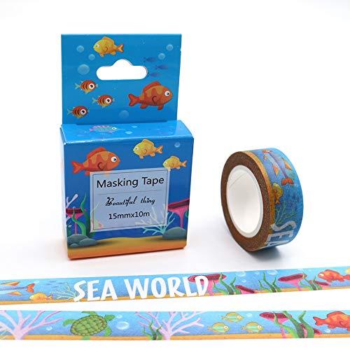 YYHAOGE 5 Pezzi 15mm * 10m Underwater World Washi Tape Nastro Adesivo di Carta Colorata di qualità Eccellente Nastri Decorativi Fai da Te
