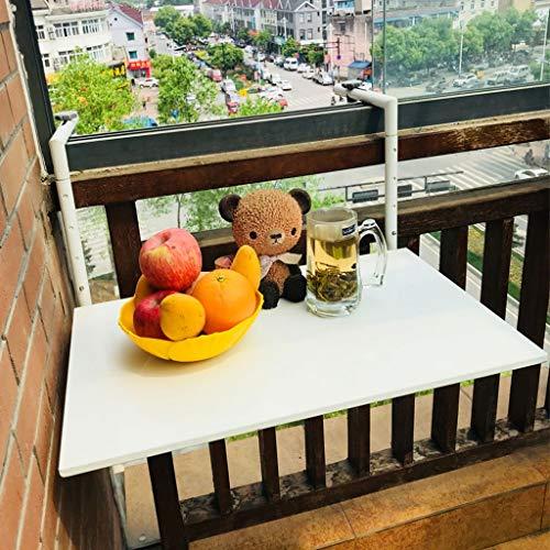 WENJUN - Mesa colgante plegable de aleación de aluminio para balcón (60 x 40 cm), color blanco