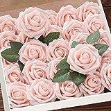 Flores artificiales, rosas con tallo, decoración rústica para el hogar, boda, cocina, oficina, fiesta de novia o decoración del hogar, 25 unidades
