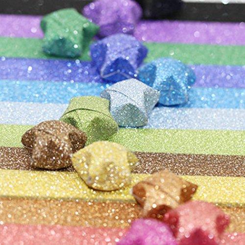 Origami-Papier-Set, Bastelpapier für Origami-Sterne, 360 Blatt – 18 Farben mit Glitzer