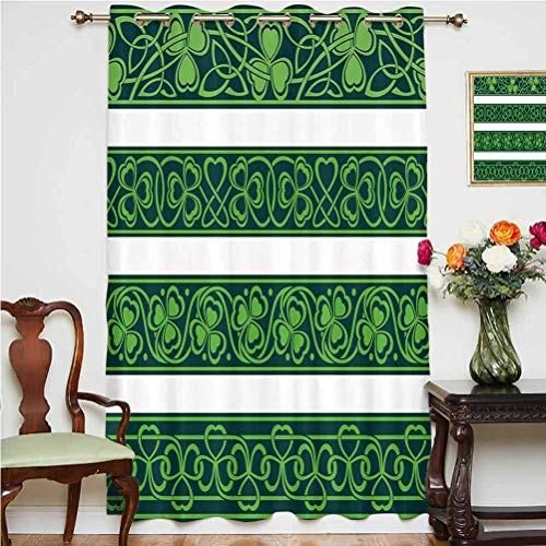 Irish Blackout Curtain Set of Four Shamrock Borders Gaelic Nature Botany Theme Artsy Trefoils Swirls Grommets Panels Printed Curtains ,Single Panel 63x63 inch,for Office Forest Green White