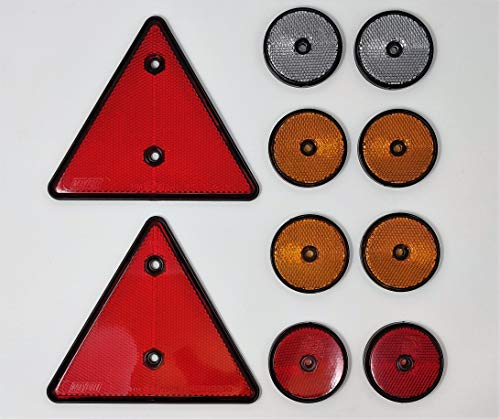 BITS4REASONS Maypole MP 1699 Kit de reflectantes 2 triangulares rojos 2 redondos rojos 4 redondos ámbar y 2 redondos transparentes; aptos para remolques, caravanas, remolques de caballos homologados