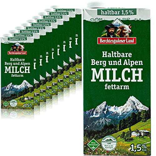 Berchtesgadener Land - 10er Pack H-Milch fettarm 1,5 % in 1 Liter Packung - Haltbare Milch von Höfen aus der Berg- und Alpenregion (Bergbauernmilch)