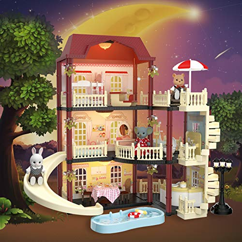 MITCIEN Dollhouse Kit Playset Little Critters Bunny Dolls for Girls with Swimming Pool and Slideside Family Toys for Toddler 3 4 5 6 Year Old Girl