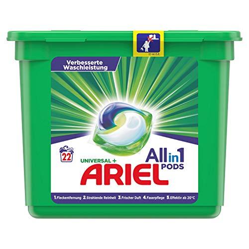 Ariel Waschmittel Pods All-in-1, Universal, Frischer Wäscheduft und strahlende Reinheit, 22 Waschladungen