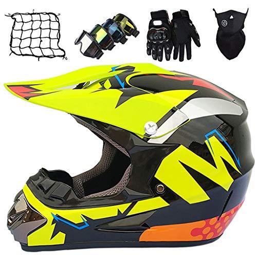 Casco de Motocross Niños y Adultos, MJH-03 Conjunto de Cascos de Moto Integral MTB, para ATV Off-road Downhill Dirt Bike con Gafas/Máscara/Guantes/Red Elástica - Negro Amarillo