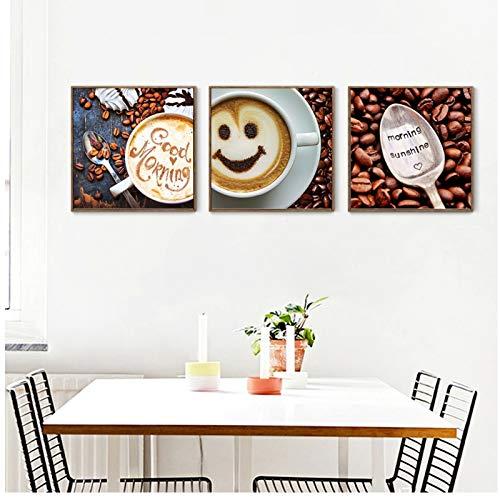 Goedemorgen Engels Woord Smiley Koffie Foto Cafe Restaurant Wanddecoratie Poster Print Canvas Schilderij Modern Interieur -40x40x3Pcscm Geen Frame