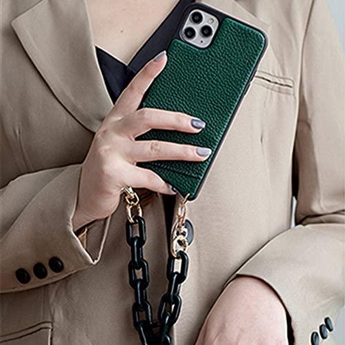 LIUYAWEI Cartera de Cuero de la PU Bolso Bandolera Estuche para teléfono para iPhone 12 11pro MAX XS MAX XR 7 8 Plus Estuches para teléfono con Bolsa de Cadena Corta con Correa, Verde (Cadena Corta),