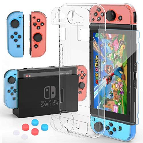 HEYSTOP Custodia Nintendo Switch, Cover Protettiva Trasparente e Nintendo Switch Pellicola Protettiva Utilizzabile nel Dock con Copri Analogico, Nuovo