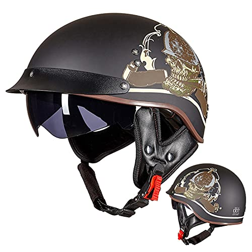 BCBKD DOT Approved Motorcycle Half Helmet with Sun Visor,Vintage Style Men Women Half Size Helmet with Quick Release Buckle,Novelty Pattern Half Shell Helmet for Cruiser Moped Scooter