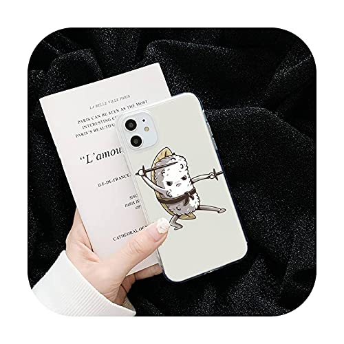 Lindo historieta cómic divertido sushi teléfono casos transparente para iPhone 6 7 8 11 12 s mini pro x XS XR MAX Plus funda shell-a9-iphone 5s o se
