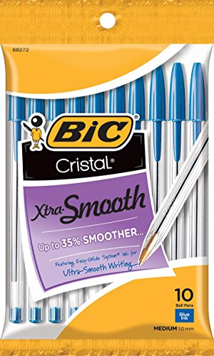 10 BIC Cristal Xtra Smooth Blue Ball Pens For $0.97 From Amazon