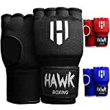Hawk Padded Inner Gloves Training Gel Hand Wraps for Boxing Quick Wraps Men & Women Kickboxing Muay Thai MMA Bandages Fist Knuckle Wrist Protector Handwraps (Pair) (Black, L/XL)