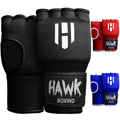 Hawk Padded Inner Gloves Training Gel Elastic Hand Wraps for Boxing Gloves Quick Wraps Men & Women Kickboxing Muay Thai MMA Bandages Fist Knuckle Wrist Wrap Protector Handwraps (Pair) (Black, S/M)