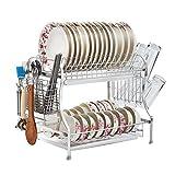 Estante de Almacenamiento de Cocina Multifuncional Estante para Platos de 2 Niveles Escurridores de Acero Inoxidable para Platos de Cocina Estantes para secar Platos Estante para Platos Cocina Marco