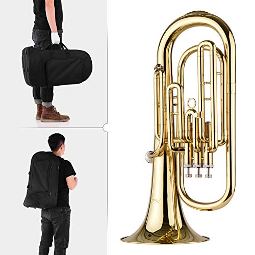 Bedler Bariton Messing Brass B Flacher Bariton Bb Blasinstrument Goldlackoberfläche mit Tragetasche Mundstück Handschuhe Reinigungstuch