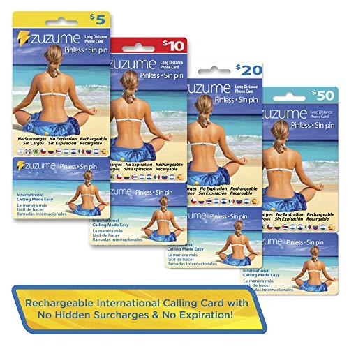 Zuzume International Calling Card   PINless, No Expiration, No Hidden Surcharges Prepaid Phone Long Distance Calling Cards   20 USD