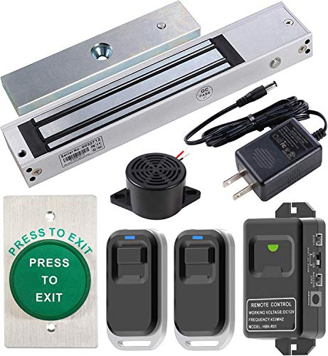 UHPPOTE Door Access Control Outswinging 600lbs Electromagnetic Lock Kit with Wireless Receiver and Remote