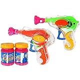 com-four® 2X Pistola de Burbujas de Jabón con 20 ml de Agua Jabonosa Cada una - Máquina de Pompas de Jabón Transparente para Niños y Adultos (02 Piezas - Mix2)